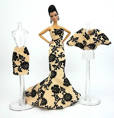 Eaki Cream Match Evening Dress Outfit Gown Fits Silkstone Barbie Fashion Royalty