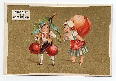 chromo Pub fond or Fruit Disproportionné Couple Paysan Cerise Pêche Litho Appel