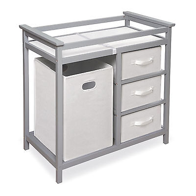 Badger Basket Modern Grey Changing Table with Baskets and Hamper