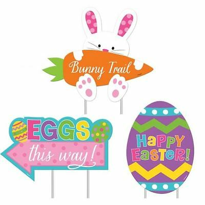 Happy Easter Egg Hunt Bunny Rabbit Pack Of 3 Garden Lawn Signs Party Decorations