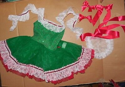 NWT small ch Faux Sequin Costume Christmas Colors German Dance Pageant