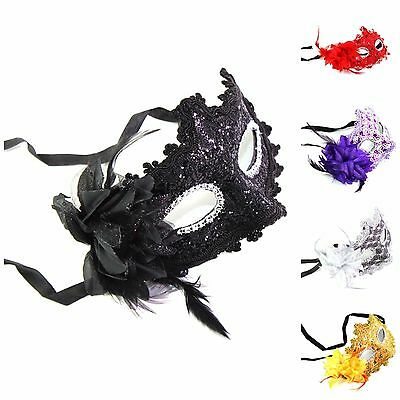 Women's Flower Feather Lace Eye Mask Masquerade Ball Party Halloween Costume