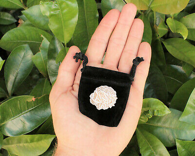 Desert Rose Selenite Flower: Protection Set - Stone plus Velvet Bag (Rock Bud)