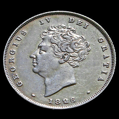 1826 George IV Bare Head Milled Silver Shilling – Near EF