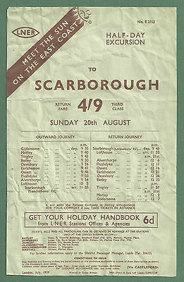 1939 Railway Handbill Lner Half-Day Excursion To Scarborough From Leeds
