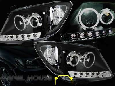 Toyota Hilux '05-'11 LED BLACK Projector Angel Eye Halo Head Light Clear LH+RH