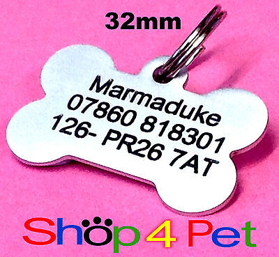 Pet ID Tag 32mm Aluminium Dog Bone Tags Engraved Free with Blackened Engraving