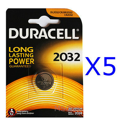 5 x Duracell 2032 Lithium Coin Batteries 3V DL2032/CR/BR2032/CR2032