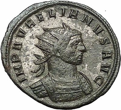 AURELIAN receiving wreath from Orbis  274AD Rare Ancient Roman Coin i54450