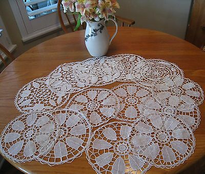 Hnd Md c1930 13pc ITALIAN LINEN TABLE SET*EXQUISITE RETICELLA NEEDLE LACE~UNUSED