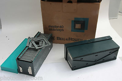 "Bell Howell Master 40 Slide Trays for Cardboard Mounted 2x2"" 6-File Box USED J6A"