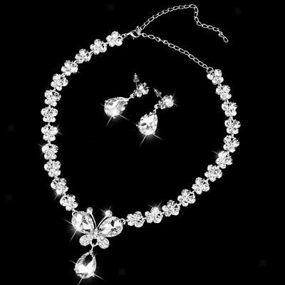 Teardrop Crystal Butterfly Necklace Earrings Set Wedding Bridal Prom