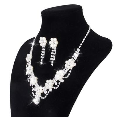 Wedding Bridal Jewelry Set Flower Pearl Crystal Rhinestone Necklace Earring