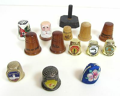 Set of 13 Decorative Thimbles and Stand