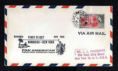 8329-BARBADOS-AIRMAIL COVER BARBADES to NEW YORK (usa) 1957.First Flight PAN AME