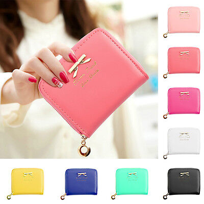 Women PU Leather Fashion Bowknot Small Clutch Wallet Zipper Card Holder Bag