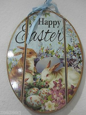"""Primitive Vintage Style Easter Wood Sign Decorations """"Happy Easter"""" Rabbit NEW"""
