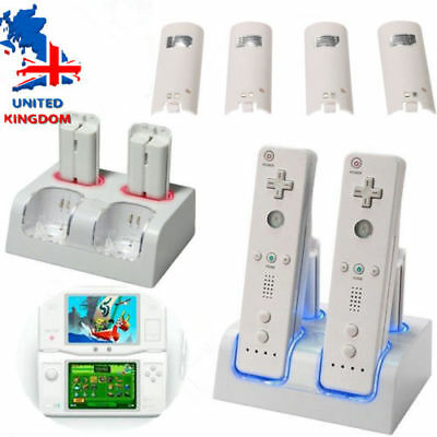 4x Battery Packs Dual Twin Charger Stand Dock Station For Wii Remote Controller