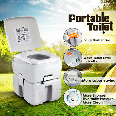 20L Outdoor Portable Camping Toilet Caravan Potty Travel Piston Pump W/ nozzle
