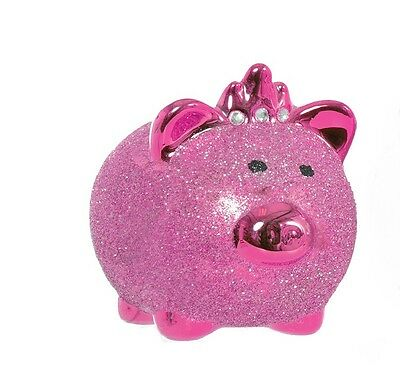 New Childrens Piggy Bank Money Box Glitter Savings Gift Novelty Pig Safe
