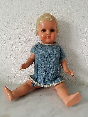 alte Puppe Mädchenpuppe Celluloid  Minerva Germany 7 Buschow & Beck baby doll