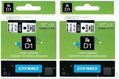 "Genuine DYMO 45013 Labeling Tape, ½"" x 23', Black Print on White Tape D1 2 Each"