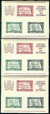 UNITED NATIONS : 1955. Scott #38. 3x Souvenir Sheets. Mint Never Hinged.