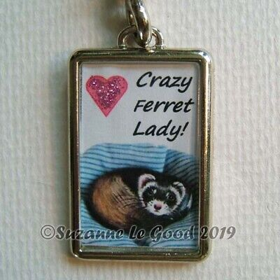 Polecat Ferret Glittery Heart Painting Keyring Handbag Charm By Suzanne Le Good