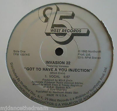 "INVASION 22 ~ Got To Have A You Injection ~ 12"" Single USA PRESS"
