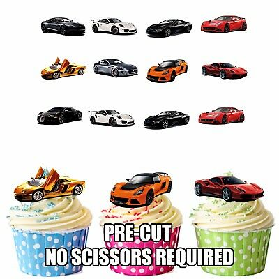 Sports Car Party Pack 36 Fun Fully Edible Birthday Cup Cake Toppers Decorations