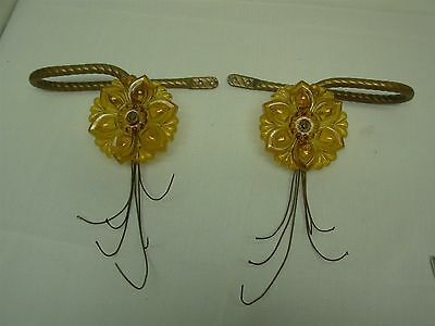 ANTIQUE CURTAIN DRAPES TIE BACKS with AMBER GLASS FLOWERS