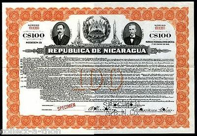 REPRINT (COPIA) of our own 1917 NICARAGUA GOVT BOND! PRES & TREAS SIGS/PORTRAITS