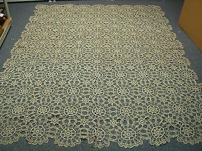 "4 ANTIQUE HAND CROCHETED TABLECLOTH with RUNNERS & MORE 84"" X 104"""