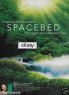 Singapore Airlines 2 Page Spacebed Biggest B/c Bed In Sky Raffles Class 2003 Ad