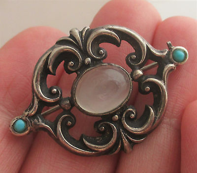 Edwardian Art Nouveau Sterling Silver Moonstone Turquoise Brooch