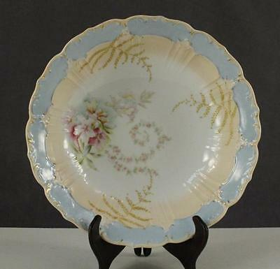 Vintage China Porcelain HAND PAINTED Germany Peach & Blue Floral Serving Bowl