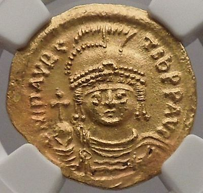 MAURICE TIBERIUS 582AD Constantiple GOLD Byzantine Coin NGC Certified AU i54533