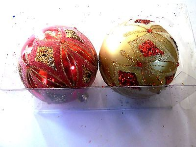2 Gold & Red Glitter 4 Inch Ball Shatter Resistant Christmas Ornament Decoration