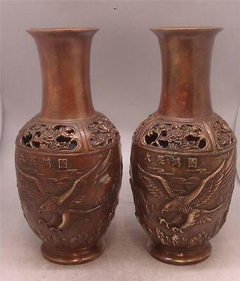 Pair of Oriental Chinese Bronze Vases - Eagle In Flight - 33cm High - Signed