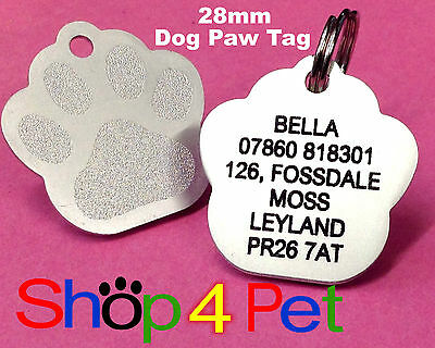 Pet ID Tag 28mm Aluminium Dog Paw Tags Engraved  Free with Blackened Engraving