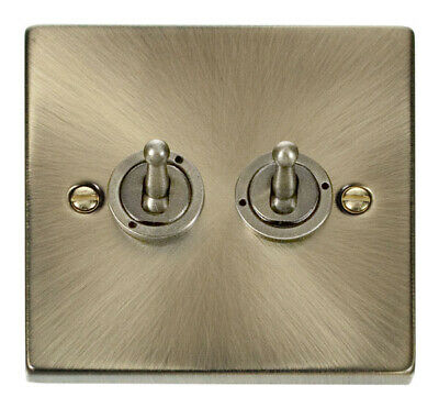 Deco 2G 2 Way 10AX Toggle Switch Victorian Antique Brass
