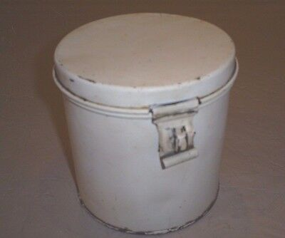 Vintage Tin Canister by KREAMER Off-White Storage Can w/ latch 5""
