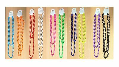 Neon Bead Beaded Necklace Uv 80S 1980S Party Rave Fancy Dress Costume Accessory