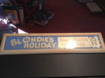 "Antique 1920s Columbia Movie Poster ""Blondie's Holiday"" Mutoscope Marquee Framed"
