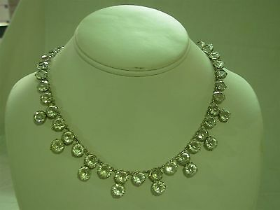 Vintage Art Deco Sterling Silver & Faceted Round Crystal Choker Necklace ~ Wow!