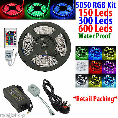 5050 5M 150 300 600 RGB LEDs SMD WATERPROOF STRIP FULL KIT + REMOTE+3PIN ADAPTER