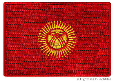 KYRGYZSTAN FLAG embroidered iron-on Kirghizia PATCH SOUVENIR EMBLEM BANNER rare