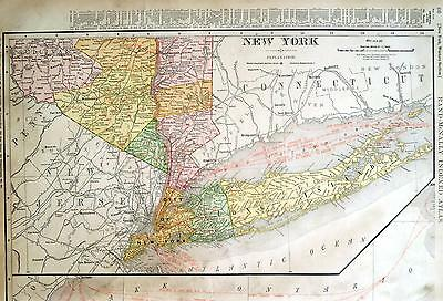 1911 Long Island and Vicinity, NY Large Dated Commercial Color Map*105 Years-Old