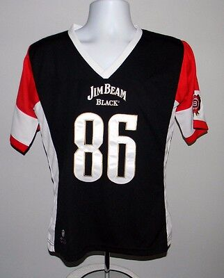 New Womens Jim Beam Black Bourbon Football Jersey Shirt Large Polyester