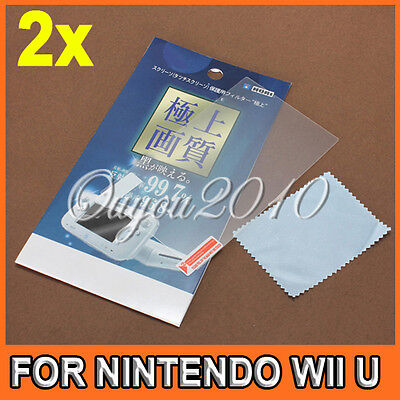 2x Clear LCD Screen Protector Guard For Nintendo Wii U Gamepad Remote Controller